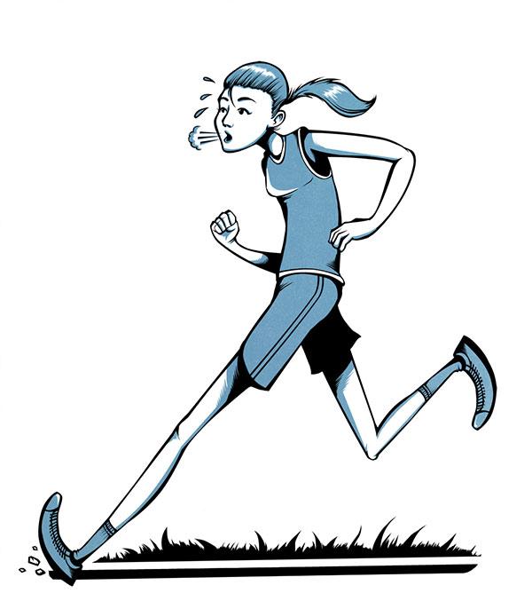 Piirros henkilöstä juoksemassa hengästyneenä.