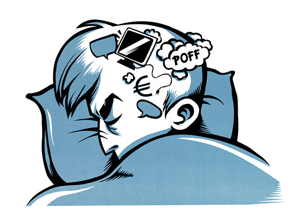 Piirros henkilöstä, joka yrittää nukkua, mutta päässä pyörii asioita.