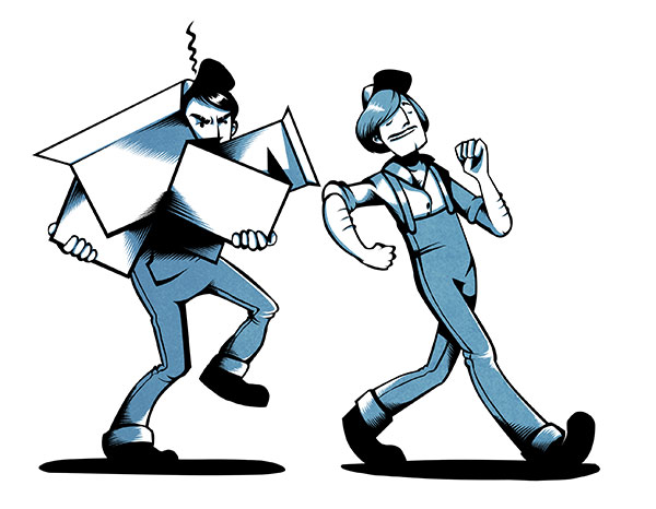 Piirros kahdesta henkilöstä. Toinen kantaa sylissään valtavasti tavaraa ja katselee vihaisena toista, joka ei kanna mitään eli ei tarjoa apua.