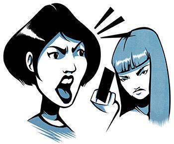 Piirros kahdesta vihaisesta henkilöstä. Toinen huutaa ja toinen näyttää keskisormea.