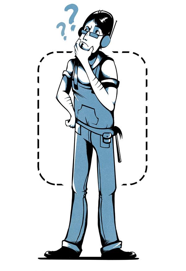 En teckning av en person i en arbetsdräkt som är fundersam. Det svävar frågetecken ovanför hens huvud.