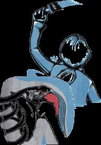 En teckning av en person som målar en vägg. Rörelserna belastar axeln.