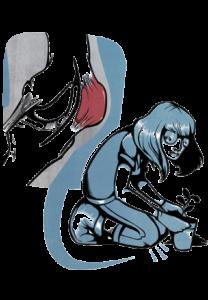En teckning av en person som står på knä och planterar en växt i en kruka. Ställningen belastar knäna.