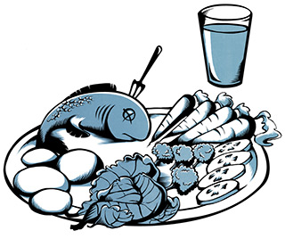 Drawing of a plate with potatoes, fish and vegetables. Next to the plate a glass of drink.